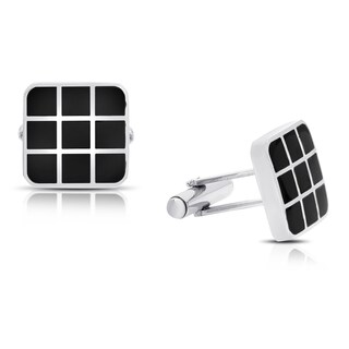 Gravity Stainless Steel And Black Enamel Square Grid Cufflinks