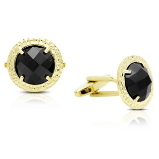 Gravity Gold Plated Hammered Round Black Cufflinks