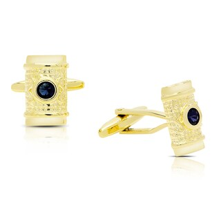 Gravity Gold Plated Simulated Sapphire Etruscan Rectangular Cufflinks