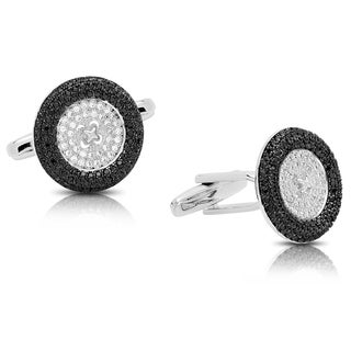 Gravity Men's Silver Plated Black & White Cubic Zirconia Button Cuff-links