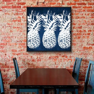 ArtWall Linda Woods's Indigo Pineapple, Gallery Wrapped Floater-framed Canvas