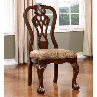 Furniture of America Carpia Formal Brown Cherry Side Chair (Set of 2)