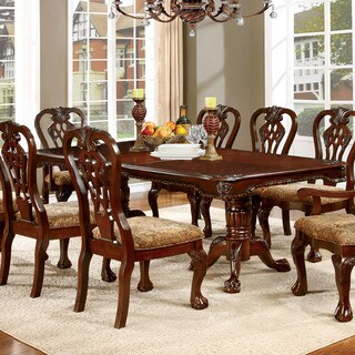 """Furniture of America Carpia Formal Brown Cherry 90"""" Dining Table"""