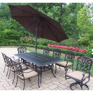 Cushioned Aluminum 11-piece Dining Set with Umbrella