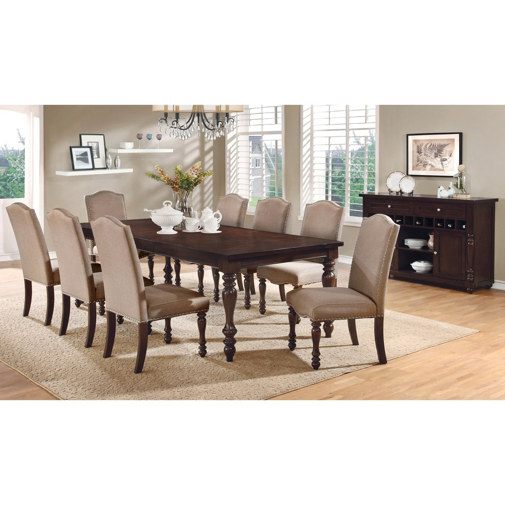 Furniture of America Ketz Transitional Ivory 9 Piece Dining Set