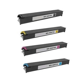 1Set Compatible MX-36NTBA MX-36NTCA MX-36NTMA MX-36NTYA Toner Cartridge For Sharp MX 2610 2610N 2615 2640N ( Pack of 4 )