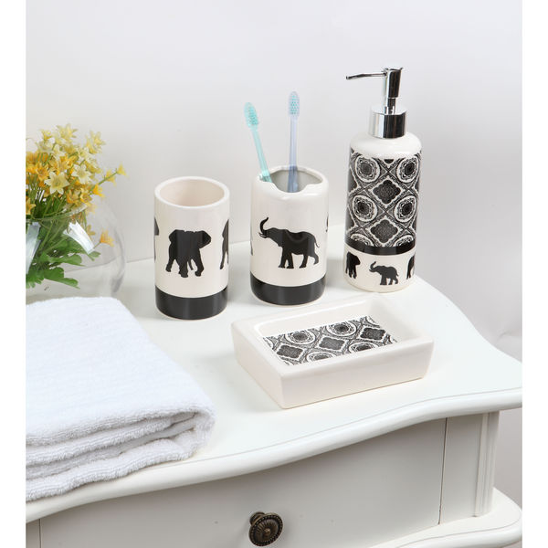 4-piece Ceramic Black and White Elephant Bath Set