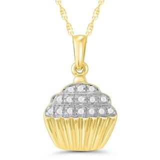 Caressa 10k Yellow Gold Diamond Accent Cupcake Pendant (I-J, I2-I3)