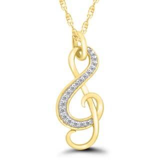10k Gold 1/10ct TDW Diamond Music Note Pendant ( I-J, I2-I3)
