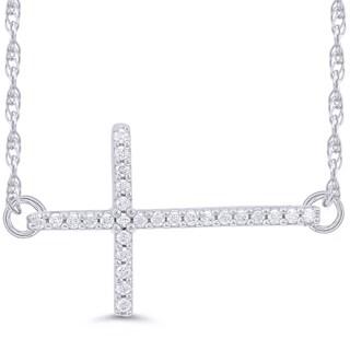 10k White Gold 1/10ct TDW Diamond Sideways Cross Necklace (I-J, I2-I3)