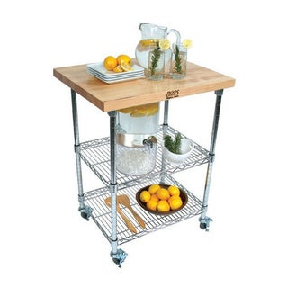 John Boos MET-MWC-1 Mobile Wire Cart 27x21 Butcher block with Hard Maple Top & 13-piece Henkels Knife Set