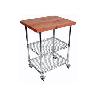 John Boos MET-CWC-1 Mobile Wire Cart with1 1/2-inch Cherry Top and Bonus 13-piece Henkels Knife Set