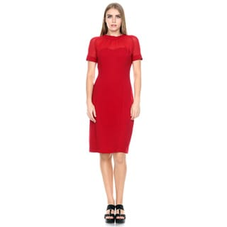 Stanzino Women's Mesh Short Sleeve Bodycon Dress