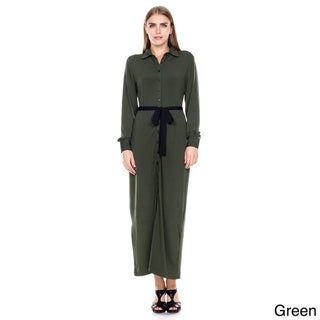 Stanzino Women's Long-Sleeve Maxi Shirt Dress