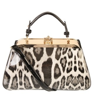 Rimen and Co. Women's Fashion Leather Leopard Kiss-lock Handbag