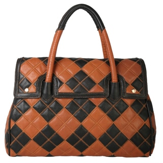 Diophy Multicolor Patchwork Top Zipper Genuine Leather Large Satchel
