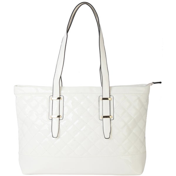 Rimen and Co. Top Handle Patent Stitching Large Capacity Zipper Closure Fashion Tote
