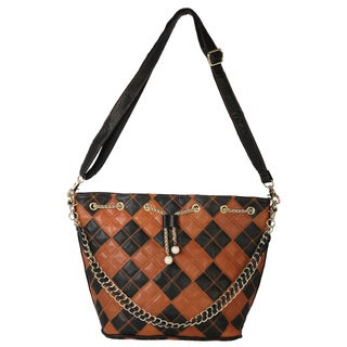 Diophy Multicolor Patchwork Llstring Genuine Leather Tote