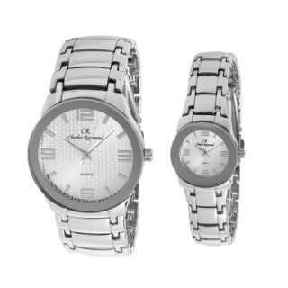 Charles Raymond His and Hers 1478 Silver Tone Watch Set