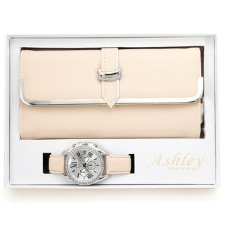 Ashley Princess Women's Faux Leather Stainless Steel Wallet and Watch Set