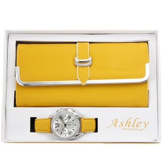 Ashley Princess Women's Faux Leather Stainless Steel Wallet and Watch Set (Option: Yellow)