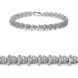 Malaika 14k White Gold over Silver 1 7/8ct TDW Diamond Bracelet (I-J, I2-I3)
