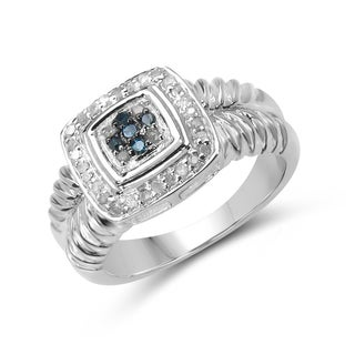 Malaika Sterling Silver 1/5ct TDW Blue and White Diamond Ring