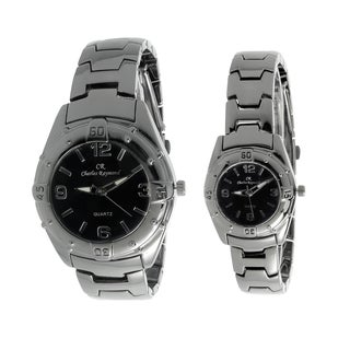 Charles Raymond His and Hers 818 Gunmetal Tone Watch Set