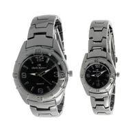 Charles Raymond His and Hers 818 Gunmetal Tone Watch Set