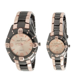 Charles Raymond His and Hers 818 Rose Gold Tone Watch Set