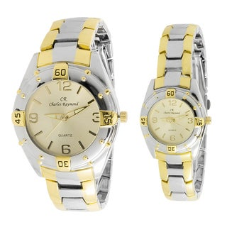 Charles Raymond His and Hers 818 Two Tone Watch Set