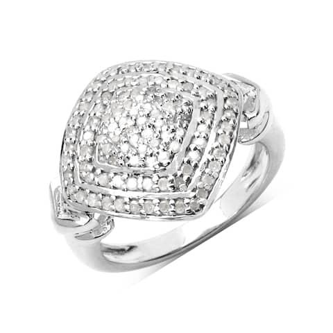 Olivia Leone Sterling Silver 1/2ct TDW White Diamond Ring