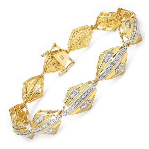 Malaika 14k Yellow Goldplated Silver 1ct TDW Diamond Bracelet