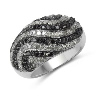 Malaika Sterling Silver 1 1/4ct TDW Black and White Diamond Ring
