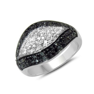 Malaika Sterling Silver 1/2ct TDW Black and White Diamond Ring