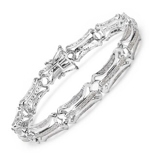 Malaika 14k White Gold over Silver 1ct TDW Diamond Bracelet