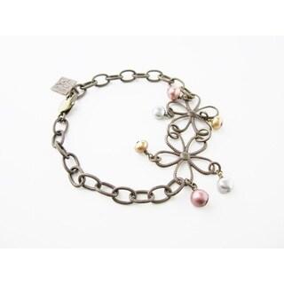 Jewel Tone Etched Floral Bracelet