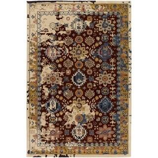 The Curated Nomad Esmeralda Hand-tufted Vintage Style Wool Area Rug (6 x 9 - Burgundy)