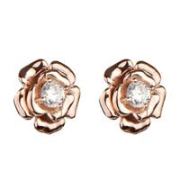 Sterling Silver Rose Gold Color Flower Stud CZ Earrings