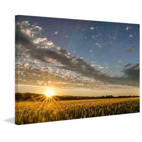 Marmont Hill - Handmade Sunset over the Golden Meadow Painting Print on Canvas