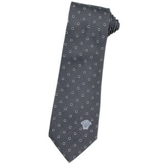 Versace 100-percent Italian Silk Dark Grey Square Neck Tie