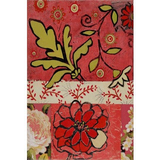 Marmont Hill - Floral with Green Painting Print on Canvas