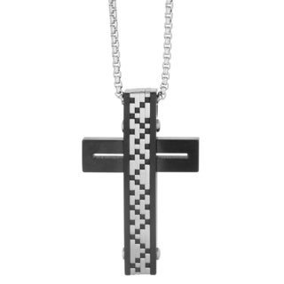 Stainless Steel Men's Textured Cut Out Cross Pendant Necklace
