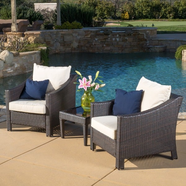 Outdoor Antibes 3 piece Wicker Conversation Set with