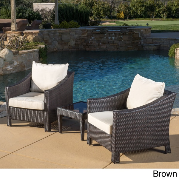 Outdoor Antibes 3 Piece Wicker Conversation Set With Cushions