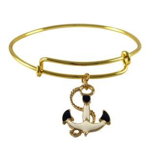 Luxiro Gold Finish Enamel Anchor Charm Adjustable Bangle Bracelet