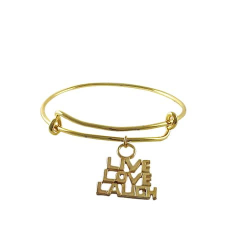 Luxiro Gold Finish Live, Love, Laugh Charm Adjustable Bangle Bracelet