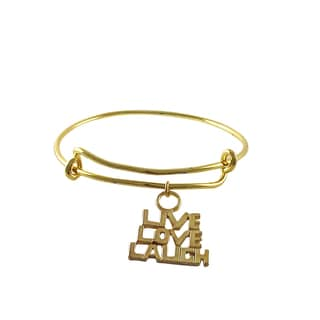 Luxiro Gold Finish Live, Love, Laugh Charm Adjustable Bangle Bracelet