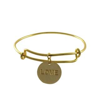Luxiro Gold Finish Love Charm Adjustable Bangle Bracelet