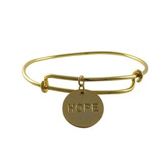 Luxiro Gold Finish Hope Charm Adjustable Bangle Bracelet